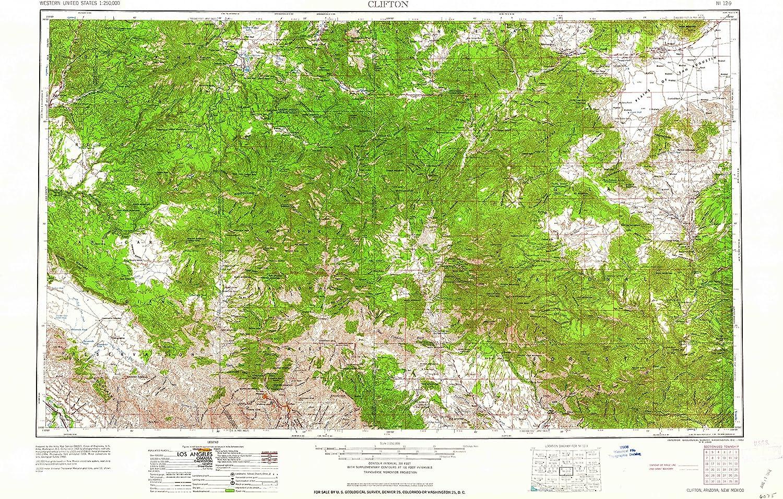Clifton AZ topo 1 250000 Scale, 1 X 2 Degree, Historical