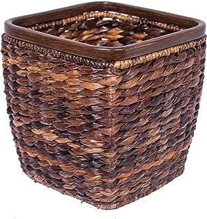 BIRDROCK HOME Seagrass Woven Wastebasket - Espresso - Office Waste Bin - Decorative - Wooden Base - Recycle Trash Can