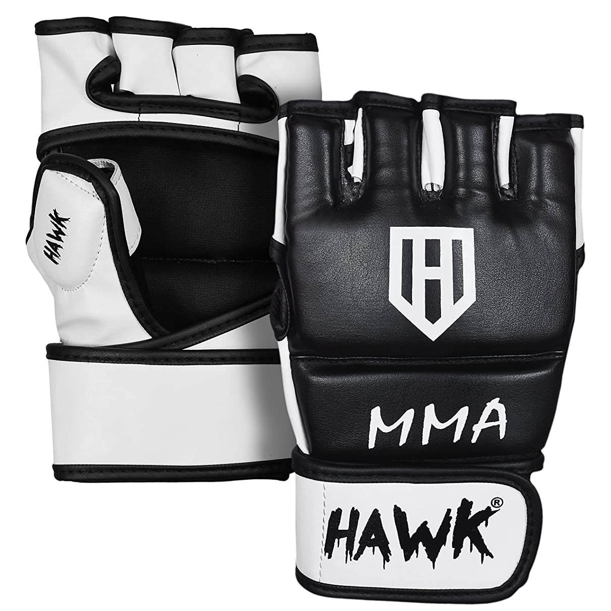 HAWK MMA Gloves Grappling Gloves Martial Arts Sparring Gloves Punching Bag Cage Fight Gloves Mitts UFC Combat Training Gloves