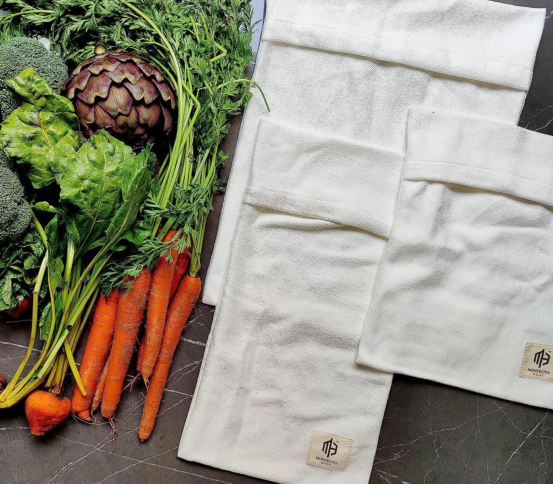 Organic Cotton Vegetable Crisper Bag - Storage Set of 3 - Keep Y