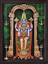 Handicraft Store Lord Venkateswara, Venkataramna Govinda Known as Balaji and Incarnation of Vishnu, A Religious Poster Painting for Wealth. Prosperity and Good Luck at Home/Work Place
