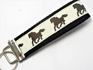 Equestrian Horse Ribbon Wristlet Key Fob Keychain Black