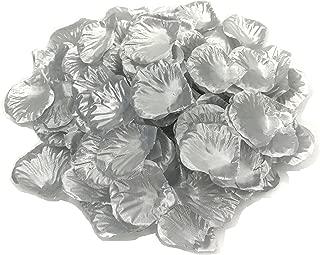 DALAMODA 1000pcs Silk Rose Petals Bouquet Artificial Flower Wedding Party Aisle Decor Tabl Scatters Confett (Silver)