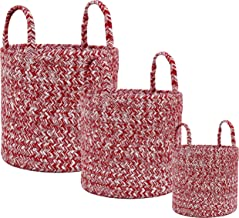 Super Area Rugs Farmhouse Braided Cotton Basket/Multi Purpose Bin Set of 3, 8-inch, 10-inch and 12-inch Red