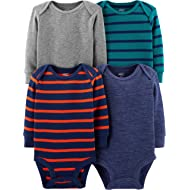 Baby Boys' 4-Pack Soft Thermal Long Sleeve Bodysuits