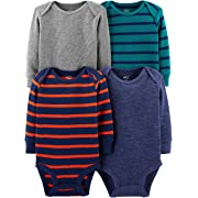Simple Joys by Carter's Boys' 4-Pack Soft Thermal Long Sleeve Bodysuits, Grey Heather/Blue Heather/Stripes, 3-6 Months