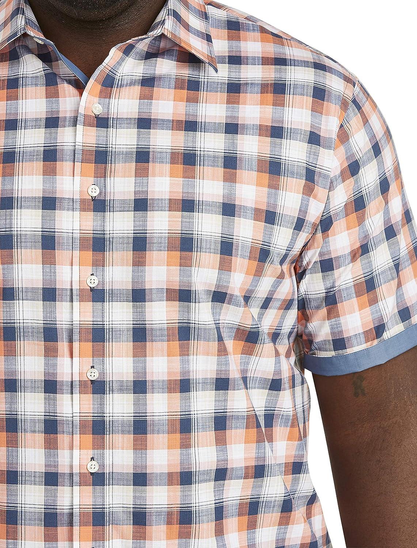 DXL Synrgy Big and Tall Textured Plaid Denim Sport Shirt, Blue Multi