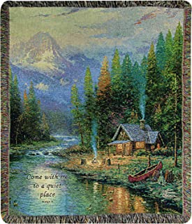 Manual Woodworkers & Weavers Tapestry Throw, Thomas Kinkade End of a Perfect Day, 50 x 60