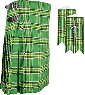Scottish Irish Green 8 yard KILT with FREE Gift of FLASHES & KILT PIN