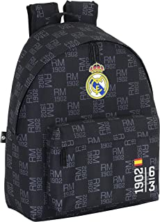 Real Madrid - Mochila Estampada, 32 x 40 cm, Color Negro (SAFTA 641527774)