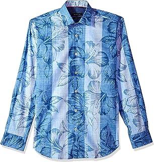 Bugatchi メンズ フィット ビジュアル リネン テクスチャー 長袖 コットンシャツ