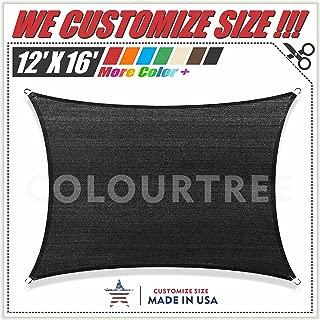ColourTree 12' x 16' Black Sun Shade Sail Canopy Rectangle - Commercial Standard Heavy Duty - For Outdoor Patio Garden UV Block - Custom Size Available