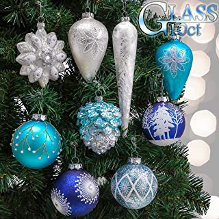 Valery Madelyn 10ct Winter Wishes Glass Christmas Ball Ornaments Silver and Blue,Themed with Tree Skirt(Not Included)