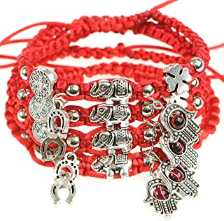 Lucky Red String Ancient Silver Evil Protection Bracelet(Set of 4)