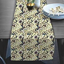 RADANYA Floral Print Taffeta Silk Table Runner for Home Kitchen Birthday Party 14x72 Inches