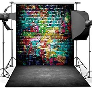 Dudaacvt Graffiti Photography Backdrop, 8x8 ft Colorful Brick Wall Vintage Cement Floor Backdrop for Studio Props Photo Background Q0010808