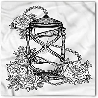 Ambesonne Tattoo Bandana, Sketch Style Hourglass, Unisex Head and Neck Tie