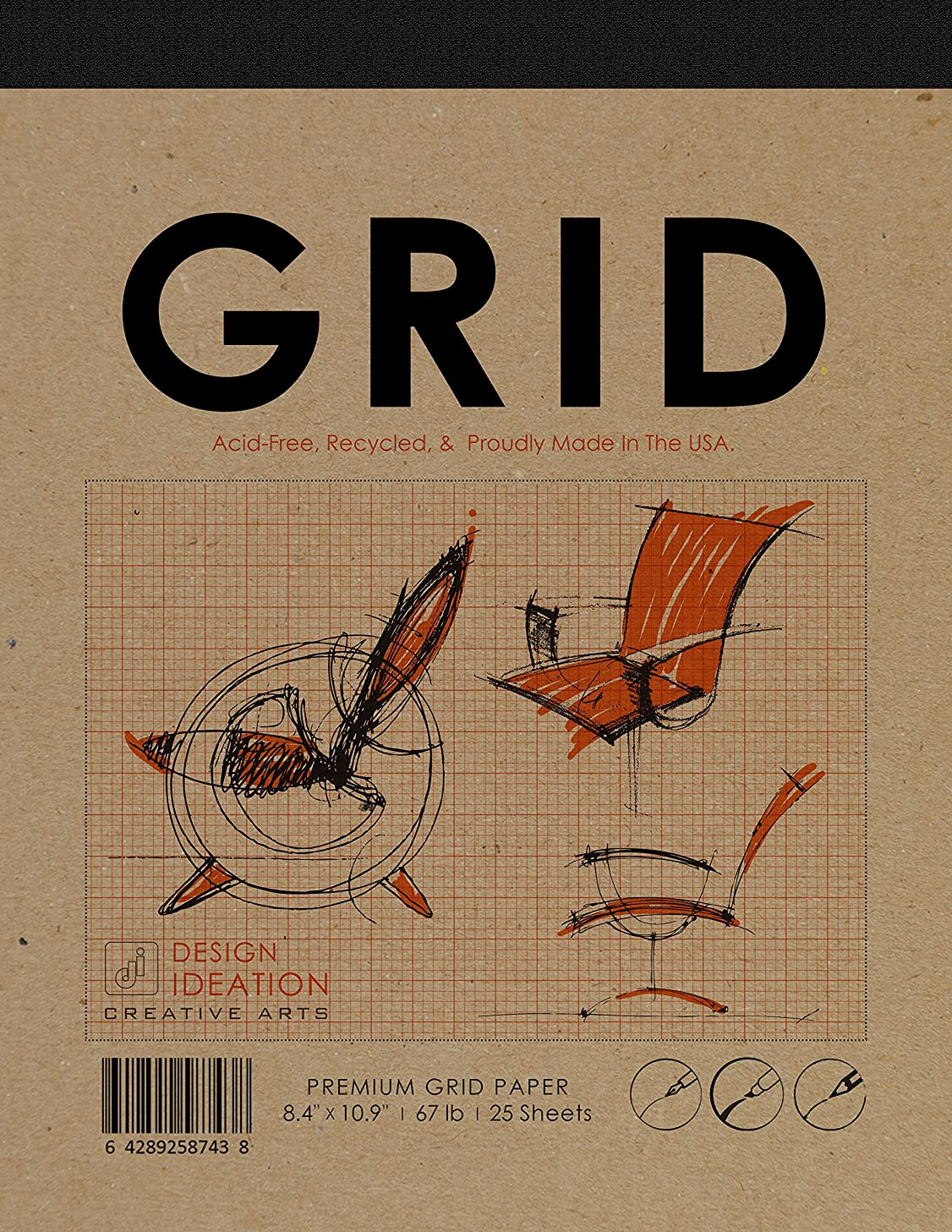 Premium Grid Paper Creative Project Pad for Pencil, Ink, and Marker. Great for Art, Design and Education. (Jumbo 8.5