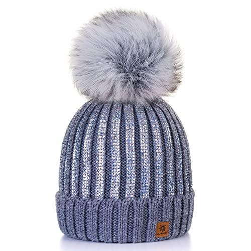 4sold Womens Girls Winter Hat Knitted Beanie Large Pom Pom Cap Ski  Snowboard Hats Bobble Gold fc1d6905dc9