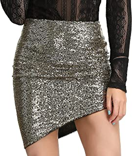 Womens Asymmetrical Hem Ruched Sequin Club Pencil Mini Skirt