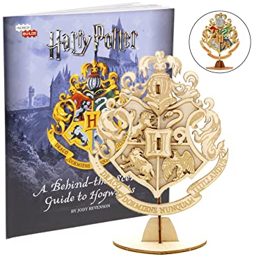 Harry Potter Hogwarts Crest 3D Wood Puzzle &Model Figure Kit (7 Pcs) - Build & Paint Your Own 3-D Book Movie Toy - Holiday Educational Gift for Kids & Adults, No Glue Required, 8+