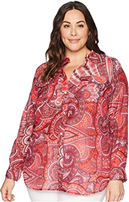 Plus Size Silk Cotton Voile Long Sleeve Shirt