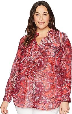 Plus Size Silk Cotton Voile Long Sleeve Shirt