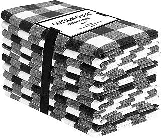 Clinica de algodon 12 Servilletas de Tela Vintage 50 x 50 cm, Servilletas de 100% Algodón Cuadros, Calidad de Hotel Duradera, para Eventos y Uso Doméstico Regular Negro Blancas