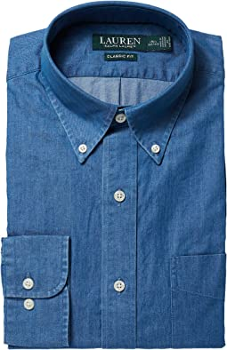 LAUREN Ralph Lauren - Classic Fit Indigo Cotton Dress Shirt