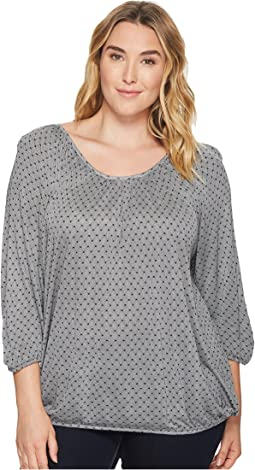 MICHAEL Michael Kors Plus Size Net Scoop Neck Peasant Top