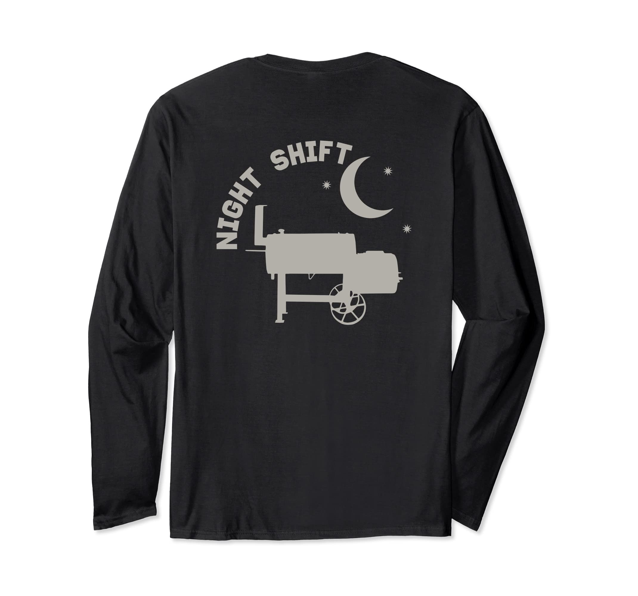 0b9af35c96 Amazon.com: Funny Offset Smoker BBQ Pit Pitmaster Longsleeves Back Print:  Clothing