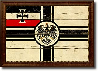 Imperial German Navy 1867-1871 War Military Vintage Flag Canvas Print Home Decor Wall Art Gifts Signs Cards, Brown Frame, 19