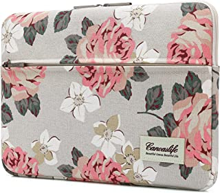 Canvaslife Pink Rose Pattern 13 inch Canvas Laptop Sleeve with Pocket 13 inch 13.3 inch Laptop 13 case13 Sleeve