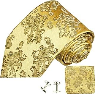 Gold Paisley Silk Necktie Set by Paul Malone
