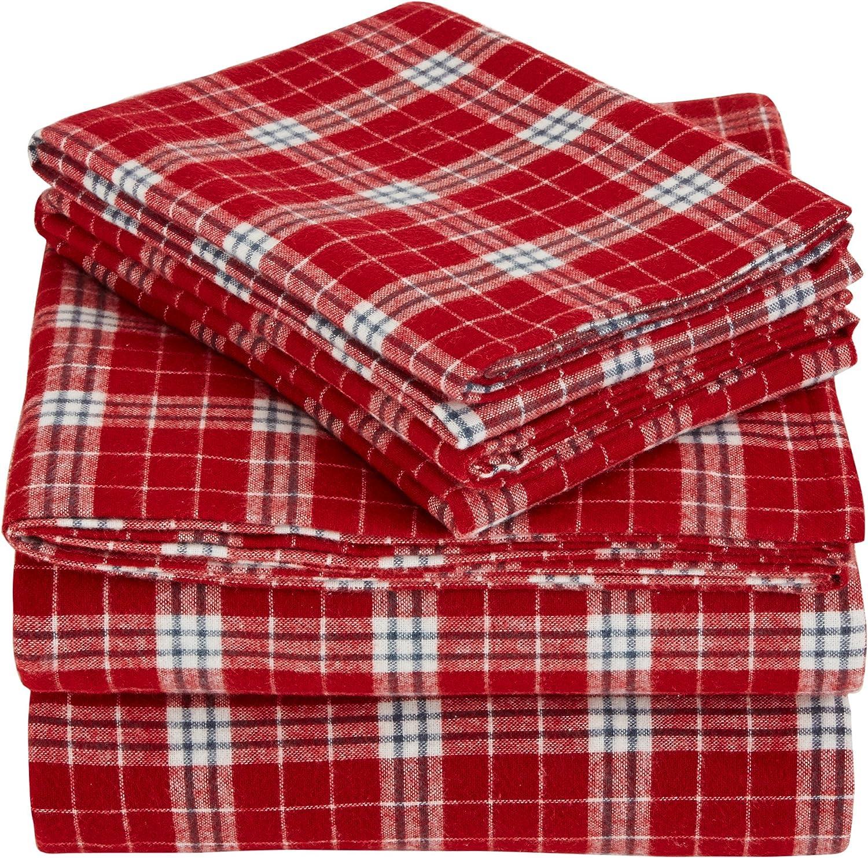 Pinzon Plaid Flannel Bed Sheet Set - California King, Bordeaux Plaid