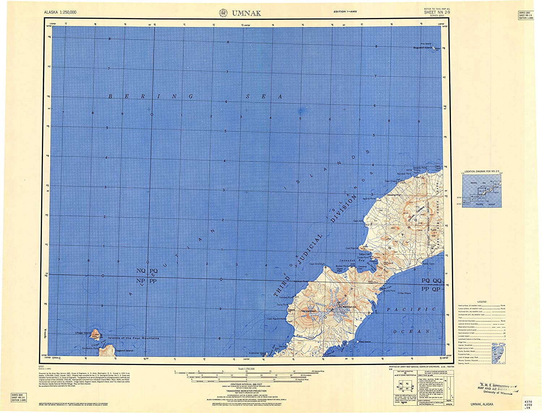 Umnak AK topo map, 1 250000 Scale, 1 X 2 Degree, Historical, 1958, 22 x 28.8 in
