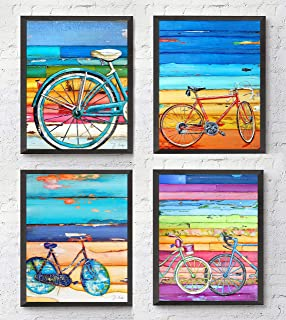 Bicycle Art Prints, Set of 4, By Danny Phillips, Unframed, Mixed Media Collage Wall Art Decor Posters, 8x10 Inches