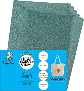 Craftables Seafoam Glitter Heat Transfer Vinyl, HTV - 5 Sheets Sparkling Easy to Weed Tshirt Iron on Vinyl for Silhouette Cameo, Cricut, All Craft Cutters. Ships Flat, Guaranteed Size