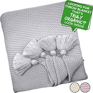 Organic Throw Blanket GOTS Certified Organic Cotton Throw Blanket Tassels Chunky Knit Blanket Hypoallergenic Super Soft Warm Heavy Kids Adults Family Nursery TV Bed Couch Blanket (50x60, Grey)