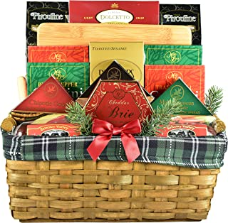 Gift Basket Village Deluxe Gourmet Gift Basket with Hardwood Cutting Board, Meats, Cheeses, Crackers and Cookies