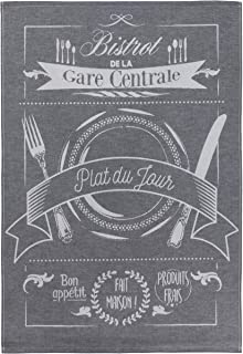 COUCKE French Cotton Jacquard Towel, Bon Appetit Noir, 20-Inches by 30-Inches, Black and White