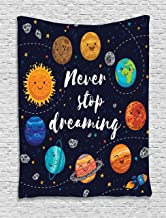 Ambesonne Saying Tapestry, Outer Space Planets Star Cluster Solar System Moon Comets Sun Cosmos Illustration, Wall Hanging for Bedroom Living Room Dorm Decor, 40