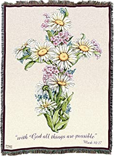 Pure Country Weavers Christian Funeral Gifts, Flower Faith Blanket, Memorial Sympathy Gift & Bereavement Gift for Loss of Mother, Father or Loved One – Healing Thoughts Funeral Blanket (72x54)