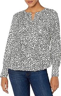 Amazon Brand - Lark & Ro Women's Crepe de Chine Long Sleeve Utility Crewneck Top