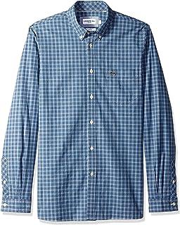 Lacoste Men's Long Sleeve Slim Fit Checkered Stretch Poplin