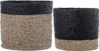 Bloomingville Black Stripe Natural Seagrass Baskets (Set of 2)