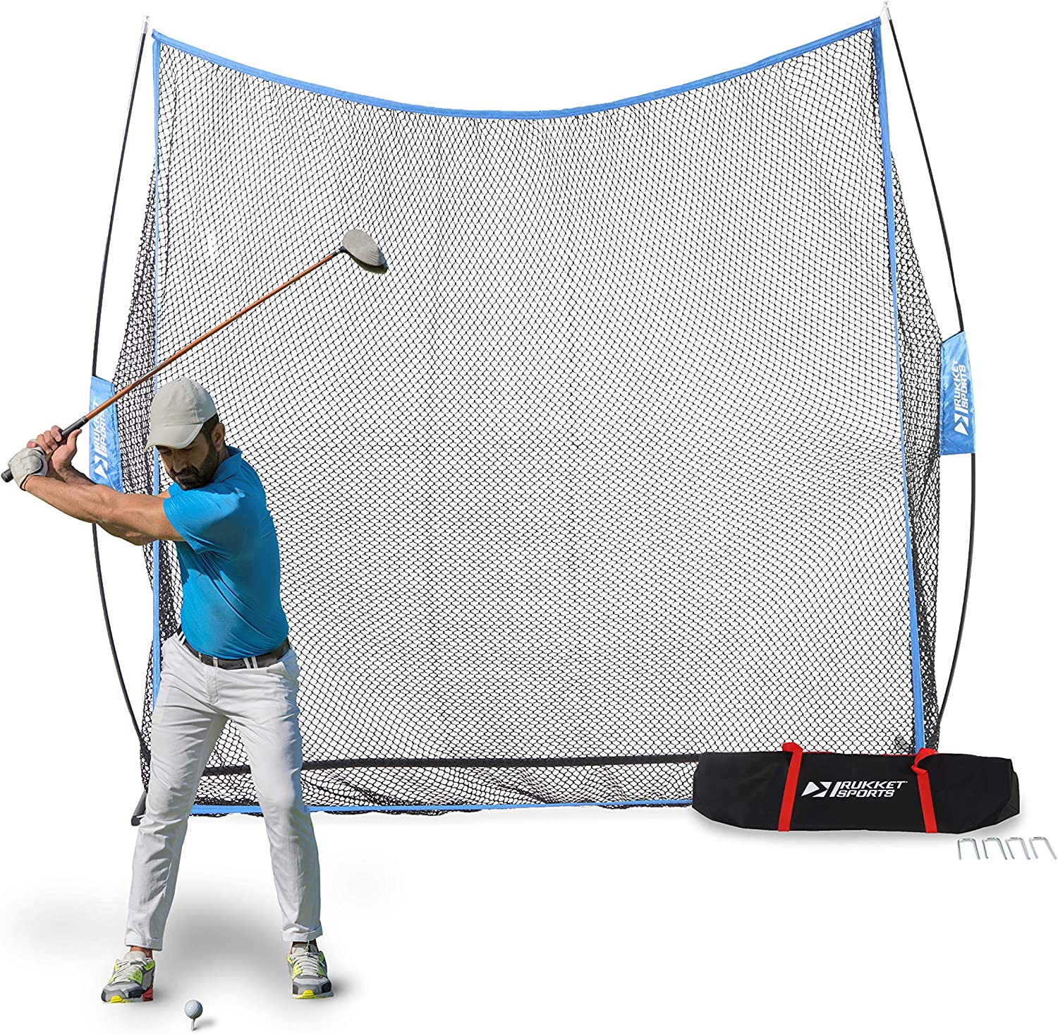 Rukket 7x7ft Golf Hitting Net & Carry Bag, Practice Driving Range for Golfing at Home, Swing Training Aid, Works with All Clubs and Real Golf Balls : Sports & Outdoors