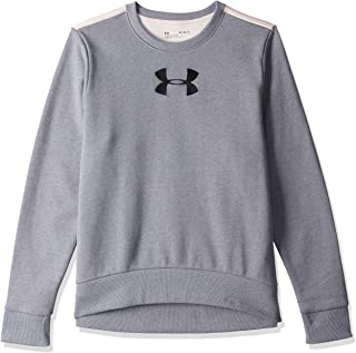Under Armour Women's Originators Fleece Crew Logo Sweatshirt, Grey (Steel Light Heather/Apex Pink Black ), X-Large
