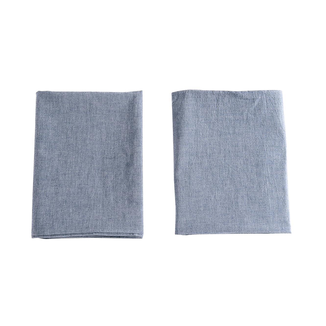 プラスサイバースペース誇張【枕カバー 2枚組】オーガニックコットン ピロケース 洗いざらしの綿100% 枕カバー2枚 封筒式 防ダニ 抗菌防臭加工 (43x63cm, ブルー)