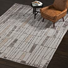Rivet Polyester Area Rug, 8 x 11 Foot, Silver, Grey, White